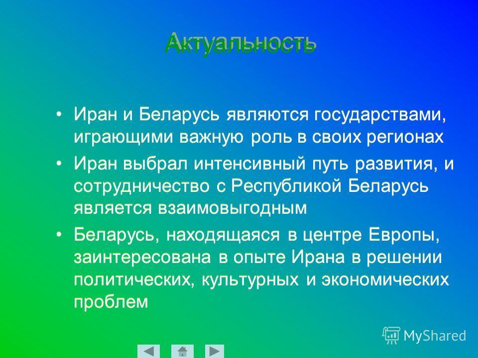 Актуальность Иран и Беларусь являются государствами, играющими важную роль в своих регионах Иран выбрал интенсивный путь развития, и сотрудничество с Республикой Беларусь является взаимовыгодным Беларусь, находящаяся в центре Европы, заинтересована в