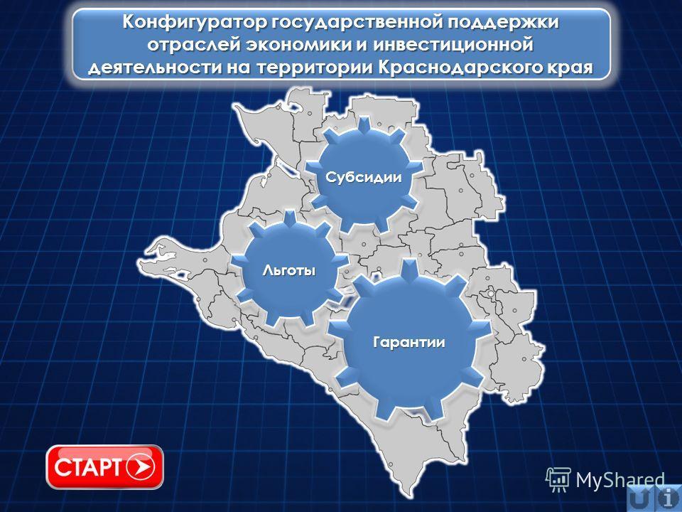 Конфигуратор государственной поддержки отраслей экономики и инвестиционной деятельности на территории Краснодарского края Льготы Гарантии Субсидии