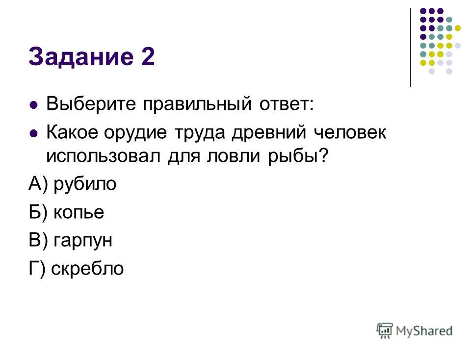 Задание 2 Выберите правильный ответ: Какое орудие труда древний человек использовал для ловли рыбы? А) рубило Б) копье В) гарпун Г) скребло