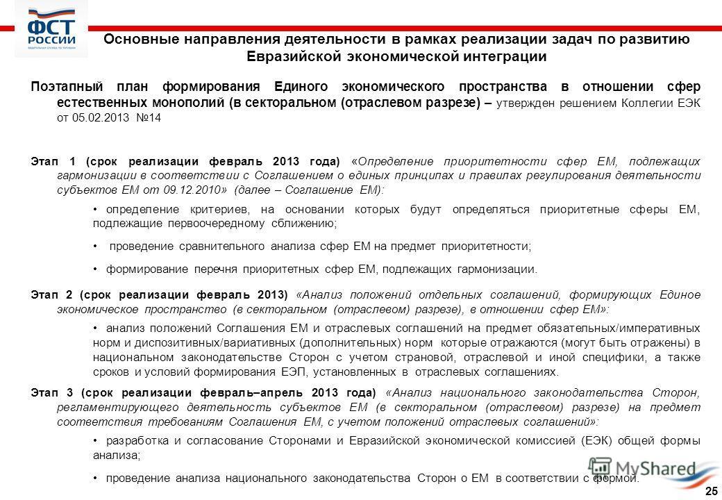 Основные направления деятельности в рамках реализации задач по развитию Евразийской экономической интеграции Поэтапный план формирования Единого экономического пространства в отношении сфер естественных монополий (в секторальном (отраслевом разрезе)