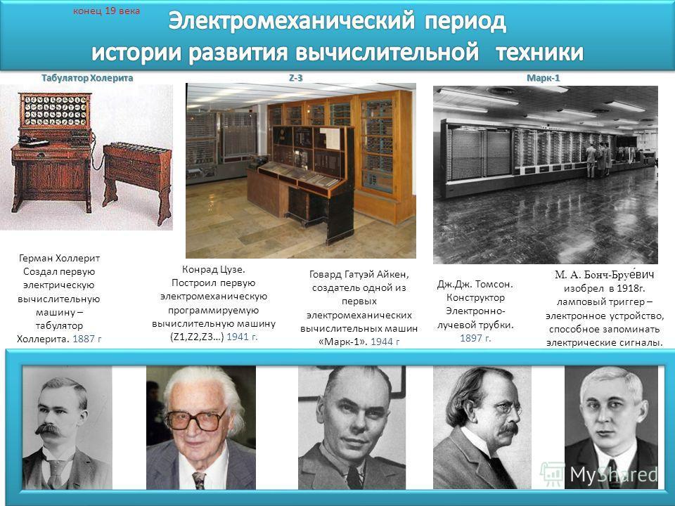 Говард Гатуэй Айкен, создатель одной из первых электромеханических вычислительных машин «Марк-1». 1944 г Герман Холлерит Создал первую электрическую вычислительную машину – табулятор Холлерита. 1887 г М. А. Бонч-Бруе́вич изобрел в 1918г. ламповый три
