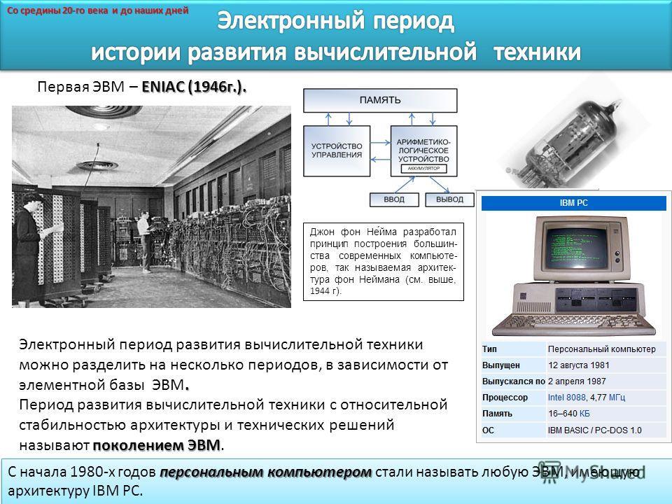 ENIAC (1946г.). Первая ЭВМ – ENIAC (1946г.). персональным компьютером C начала 1980-х годов персональным компьютером стали называть любую ЭВМ, имеющую архитектуру IBM PC.. Электронный период развития вычислительной техники можно разделить на нескольк