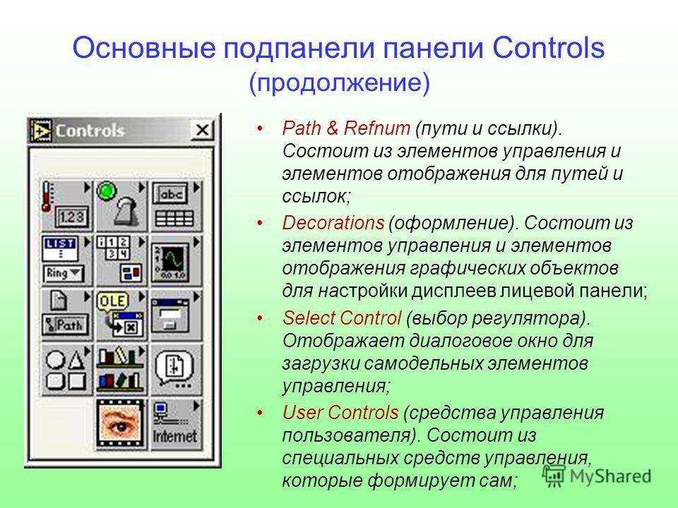 Основные подпанели панели Controls (продолжение) Path & Refnum (пути и ссылки). Состоит из элементов управления и элементов отображения для путей и ссылок; Decorations (оформление). Состоит из элементов управления и элементов отображения графических