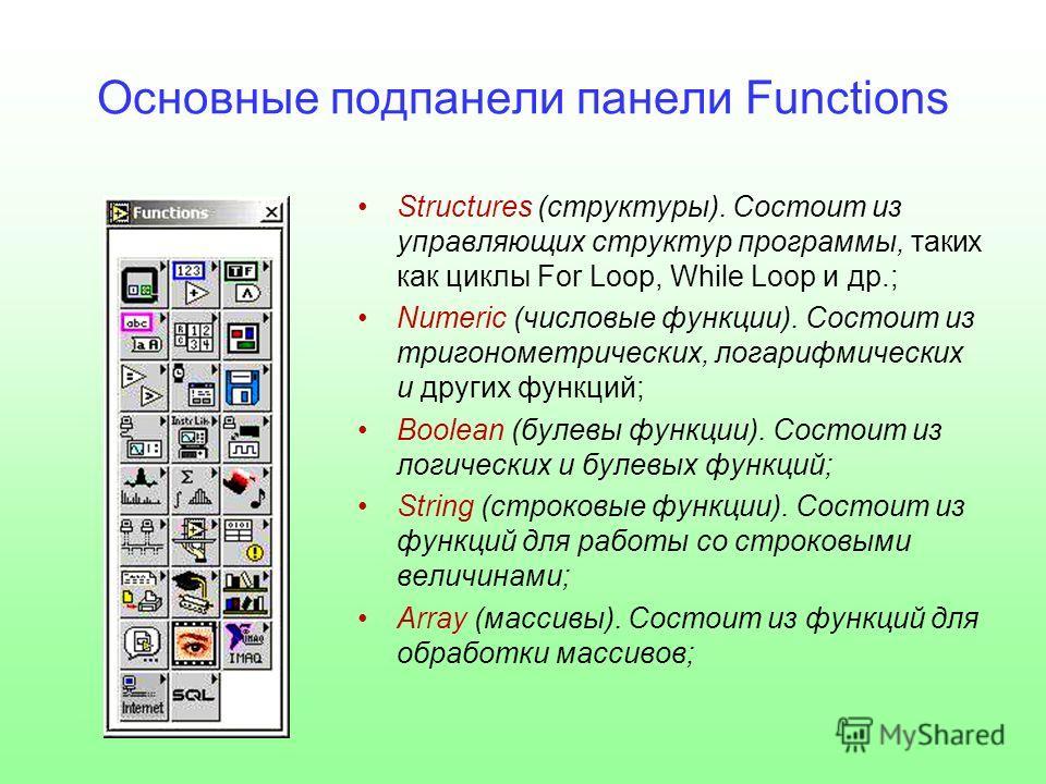 Основные подпанели панели Functions Structures (структуры). Состоит из управляющих структур программы, таких как циклы For Loop, While Loop и др.; Numeric (числовые функции). Состоит из тригонометрических, логарифмических и других функций; Boolean (б