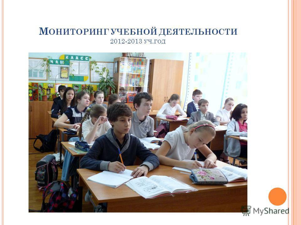 М ОНИТОРИНГ УЧЕБНОЙ ДЕЯТЕЛЬНОСТИ 2012-2013 УЧ. ГОД