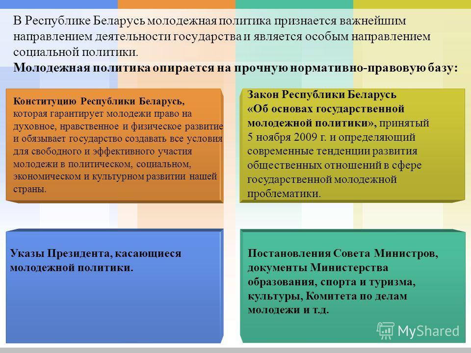 В Республике Беларусь молодежная политика признается важнейшим направлением деятельности государства и является особым направлением социальной политики. Молодежная политика опирается на прочную нормативно-правовую базу: Указы Президента, касающиеся м