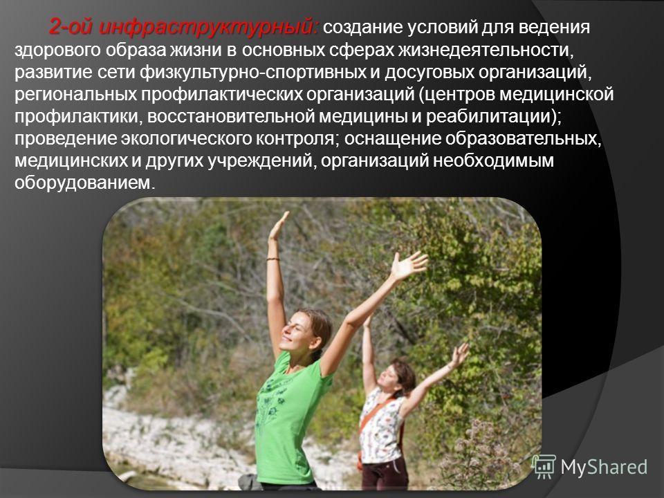 2-ой инфраструктурный: 2-ой инфраструктурный: создание условий для ведения здорового образа жизни в основных сферах жизнедеятельности, развитие сети физкультурно-спортивных и досуговых организаций, региональных профилактических организаций (центров м