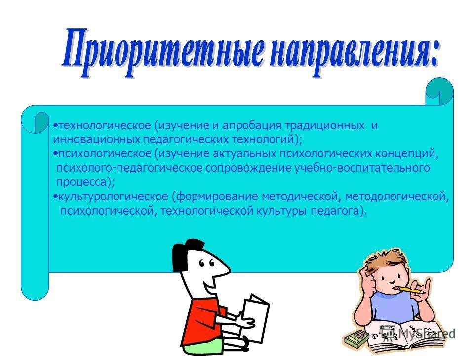 технологическое (изучение и апробация традиционных и инновационных педагогических технологий); психологическое (изучение актуальных психологических концепций, психолого-педагогическое сопровождение учебно-воспитательного процесса); культурологическое