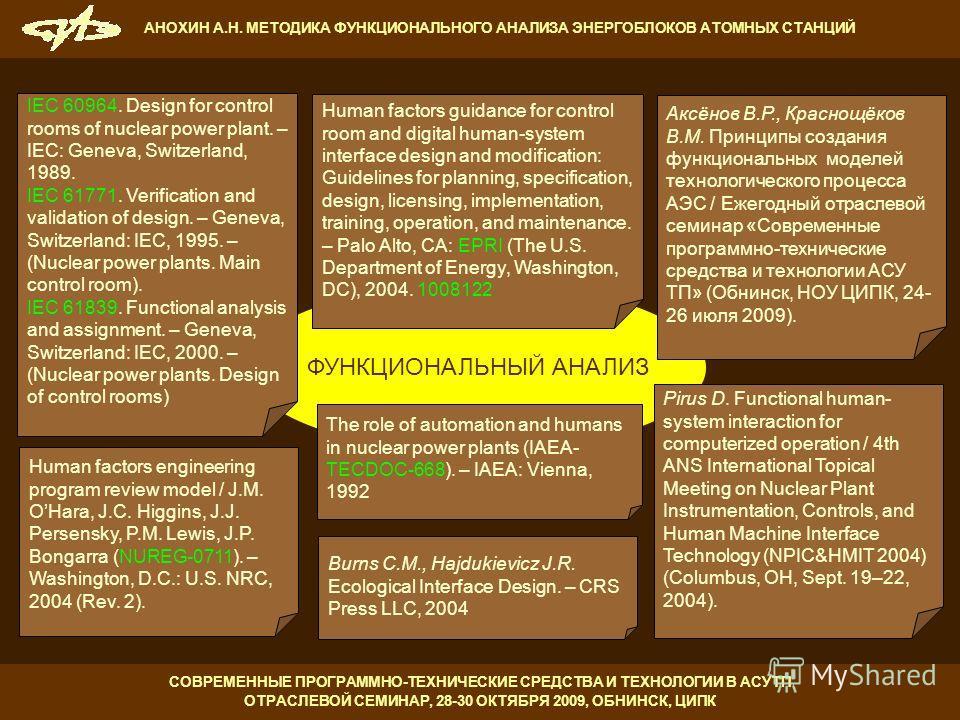 СОВРЕМЕННЫЕ ПРОГРАММНО-ТЕХНИЧЕСКИЕ СРЕДСТВА И ТЕХНОЛОГИИ В АСУТП ОТРАСЛЕВОЙ СЕМИНАР, 28-30 ОКТЯБРЯ 2009, ОБНИНСК, ЦИПК АНОХИН А.Н. МЕТОДИКА ФУНКЦИОНАЛЬНОГО АНАЛИЗА ЭНЕРГОБЛОКОВ АТОМНЫХ СТАНЦИЙ IEC 60964. Design for control rooms of nuclear power plan