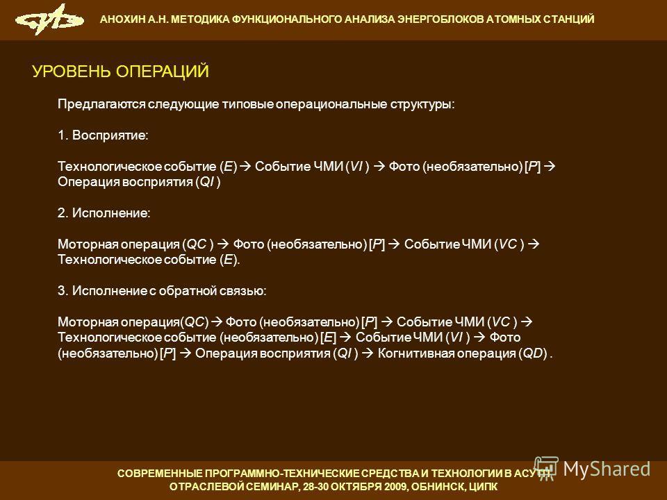 Предлагаются следующие типовые операциональные структуры: 1. Восприятие: Технологическое событие (E) Событие ЧМИ (VI ) Фото (необязательно) [P] Операция восприятия (QI ) 2. Исполнение: Моторная операция (QC ) Фото (необязательно) [P] Событие ЧМИ (VC