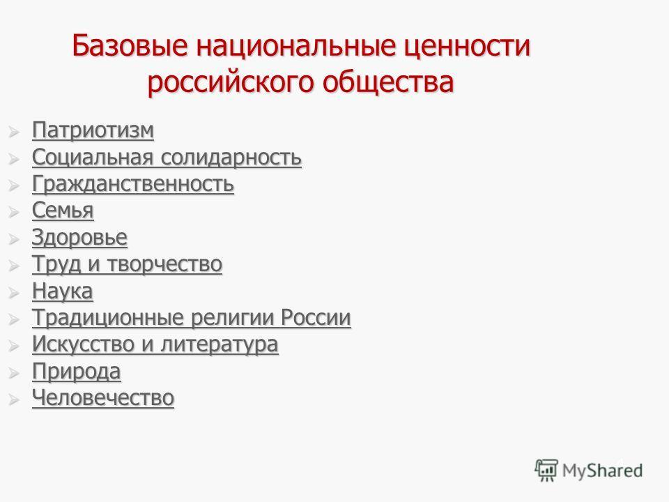 4 Базовые национальные ценности российского общества Патриотизм Патриотизм Патриотизм Социальная солидарность Социальная солидарность Социальная солидарность Социальная солидарность Гражданственность Гражданственность Гражданственность Семья Семья Се