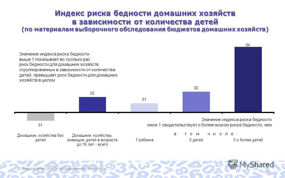 © Федеральная служба государственной статистики 24 Индекс риска бедности домашних хозяйств в зависимости от количества детей (по материалам выборочного обследования бюджетов домашних хозяйств)