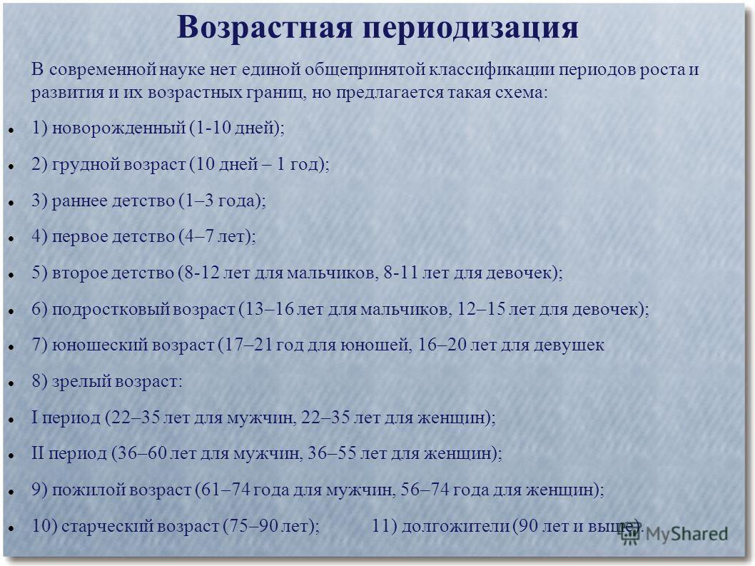 Возрастная периодизация В современной науке нет единой общепринятой классификации периодов роста и развития и их возрастных границ, но предлагается такая схема: 1) новорожденный (1-10 дней); 2) грудной возраст (10 дней – 1 год); 3) раннее детство (1–