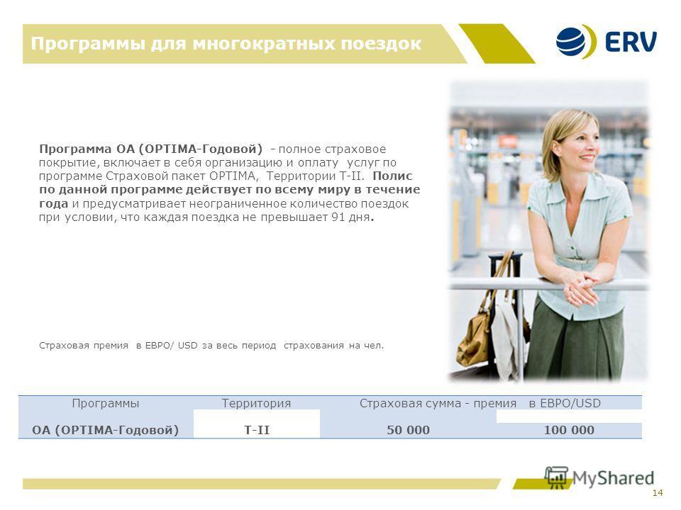 Программы для многократных поездок 14 Программа ОА (OPTIMA-Годовой) - полное страховое покрытие, включает в себя организацию и оплату услуг по программе Страховой пакет OPTIMA, Территории T-II. Полис по данной программе действует по всему миру в тече