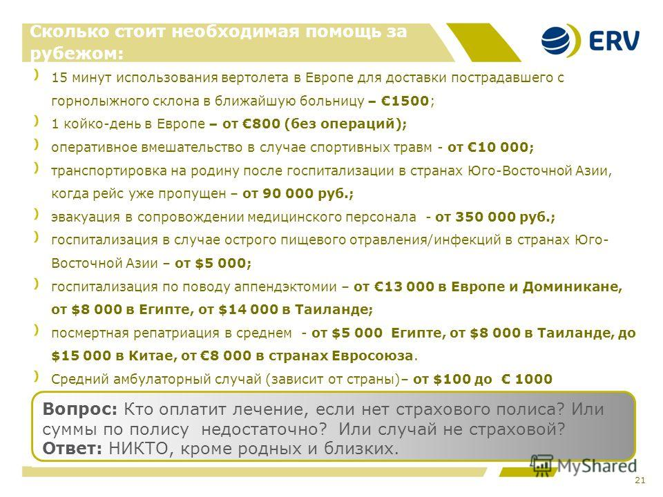 21 Сколько стоит необходимая помощь за рубежом: 15 минут использования вертолета в Европе для доставки пострадавшего с горнолыжного склона в ближайшую больницу – 1500; 1 койко-день в Европе – от 800 (без операций); оперативное вмешательство в случае