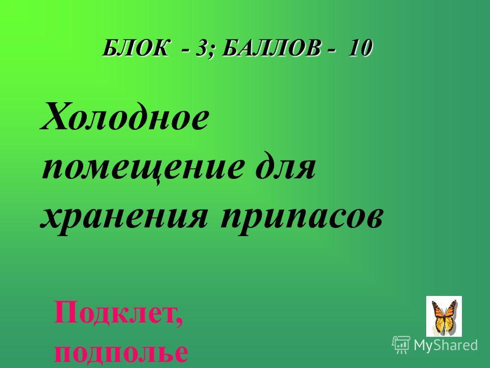 БЛОК - 3; БАЛЛОВ - 10 Холодное помещение для хранения припасов Подклет, подполье