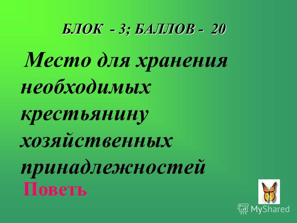 БЛОК - 3; БАЛЛОВ - 20 Место для хранения необходимых крестьянину хозяйственных принадлежностей Поветь