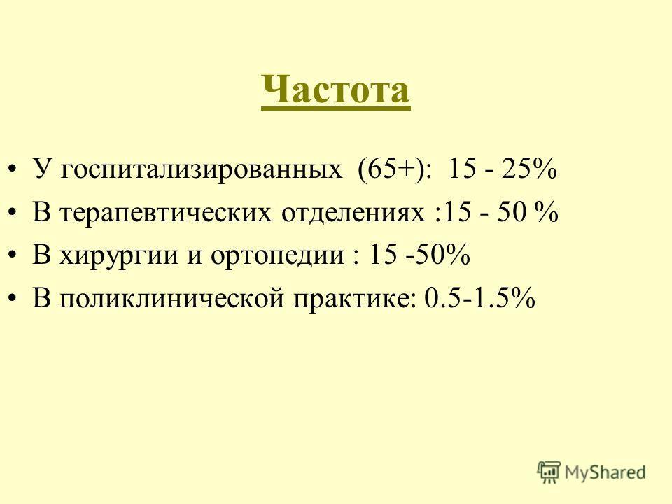 У госпитализированных (65+): 15 - 25% В терапевтических отделениях :15 - 50 % В хирургии и ортопедии : 15 -50% В поликлинической практике: 0.5-1.5% Частота