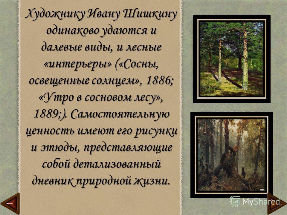 Художнику Ивану Шишкину одинаково удаются и далевые виды, и лесные «интерьеры» («Сосны, освещенные солнцем», 1886; «Утро в сосновом лесу», 1889;). Самостоятельную ценность имеют его рисунки и этюды, представляющие собой детализованный дневник природн