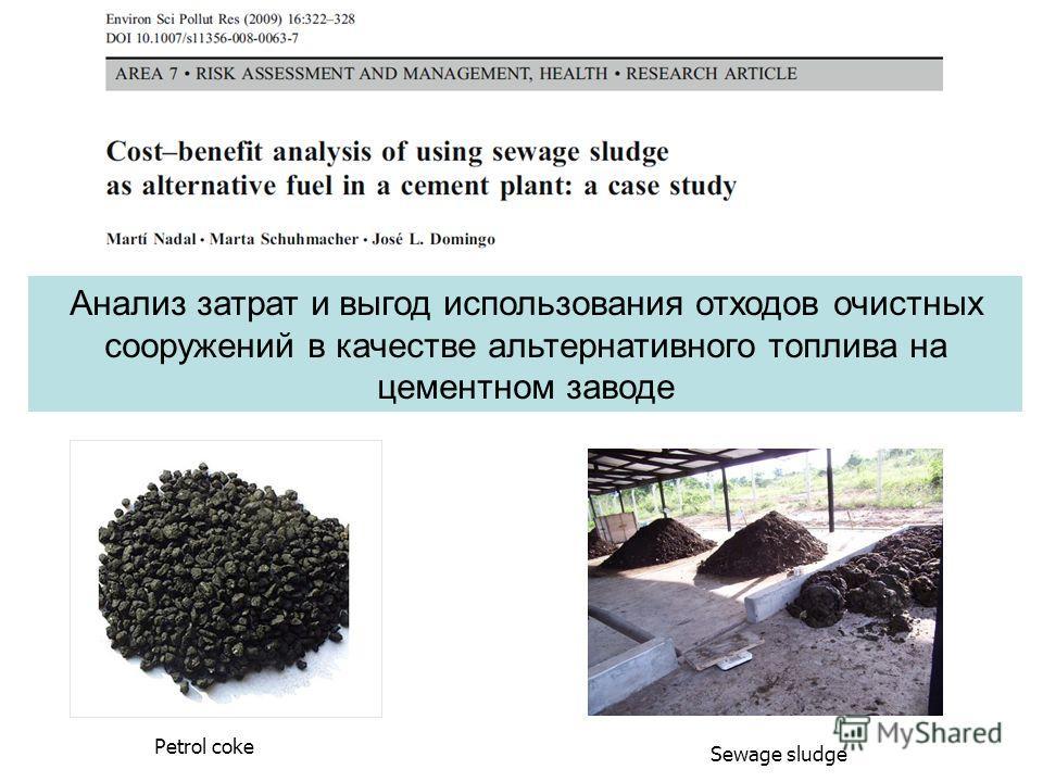 Анализ затрат и выгод использования отходов очистных сооружений в качестве альтернативного топлива на цементном заводе Sewage sludge Petrol coke
