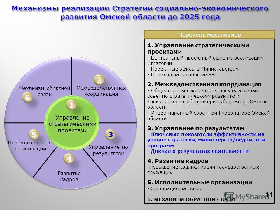 Управление стратегическими проектами Межведомственная координация Исполнительные организации Управление по результатам Механизм обратной связи 1 2 3 4 5 6 Развитие кадров 1. Управление стратегическими проектами - Центральный проектный офис по реализа