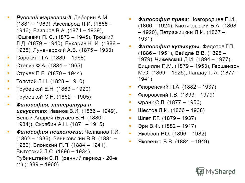Русский марксизм-II: Деборин А.М. (1881 – 1963), Аксельрод Л.И. (1868 – 1946), Базаров В.А. (1874 – 1939), Юшкевич П. С. (1873 – 1945), Троцкий Л.Д. (1879 – 1940), Бухарин Н. И. (1888 – 1938), Луначарский А.В. (1875 – 1933) Сорокин П.А. (1889 – 1968)