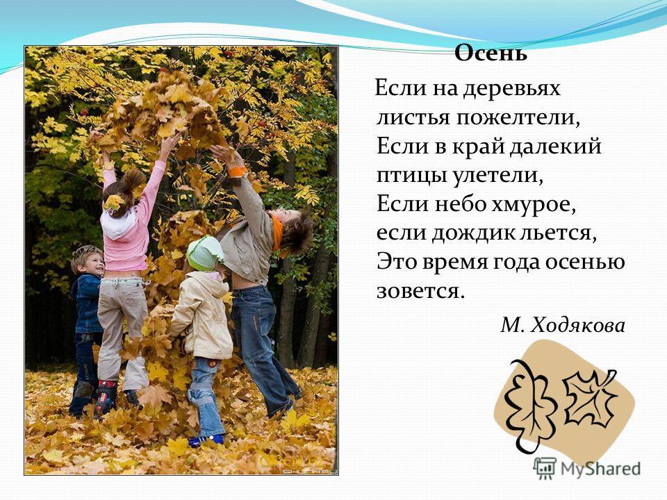 Осень Если на деревьях листья пожелтели, Если в край далекий птицы улетели, Если небо хмурое, если дождик льется, Это время года осенью зовется. М. Ходякова