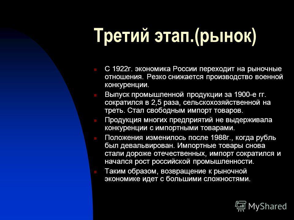 Третий этап.(рынок) С 1922г. экономика России переходит на рыночные отношения. Резко снижается производство военной конкуренции. Выпуск промышленной продукции за 1900-е гг. сократился в 2,5 раза, сельскохозяйственной на треть. Стал свободным импорт т