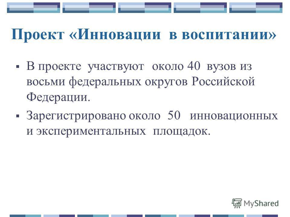 Проект «Инновации в воспитании» В проекте участвуют около 40 вузов из восьми федеральных округов Российской Федерации. Зарегистрировано около 50 инновационных и экспериментальных площадок.