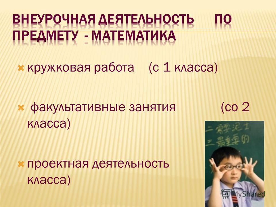 кружковая работа (с 1 класса) факультативные занятия (со 2 класса) проектная деятельность (с 1 класса)