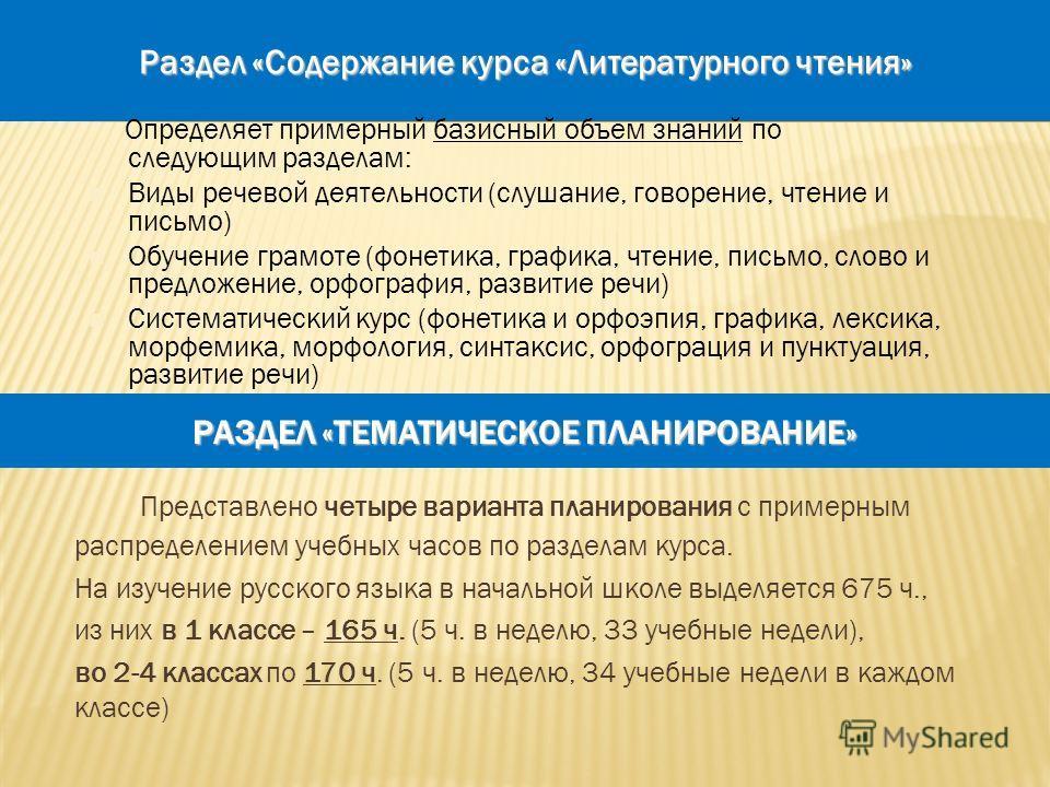 9 РАЗДЕЛ «ТЕМАТИЧЕСКОЕ ПЛАНИРОВАНИЕ» Представлено четыре варианта планирования с примерным распределением учебных часов по разделам курса. На изучение русского языка в начальной школе выделяется 675 ч., из них в 1 классе – 165 ч. (5 ч. в неделю, 33 у