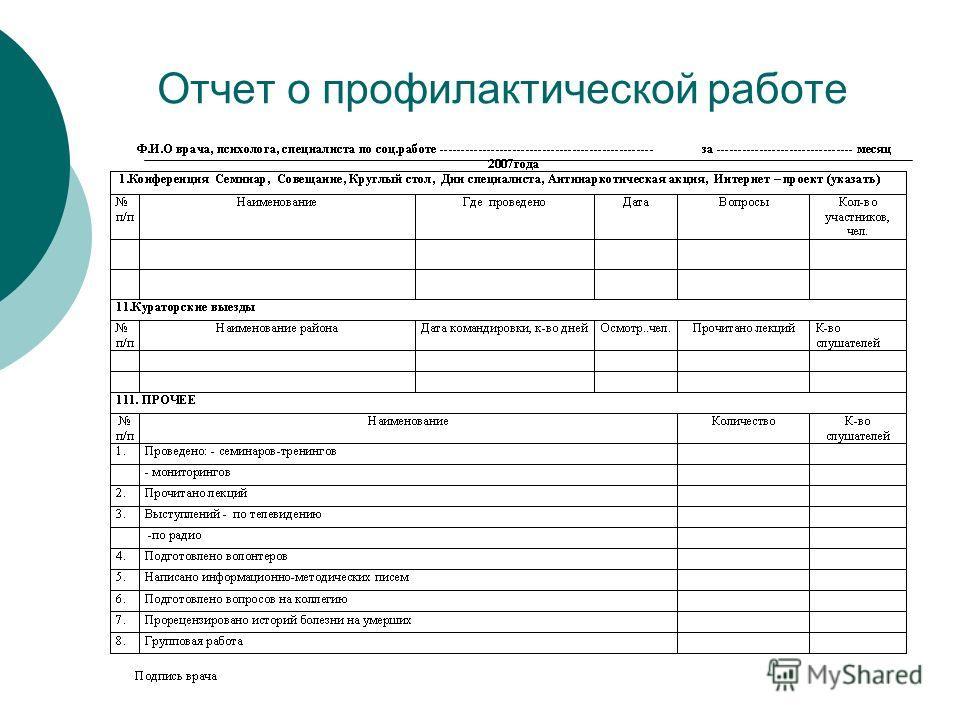 Отчет о профилактической работе