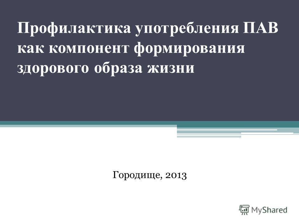 Профилактика употребления ПАВ как компонент формирования здорового образа жизни Городище, 2013