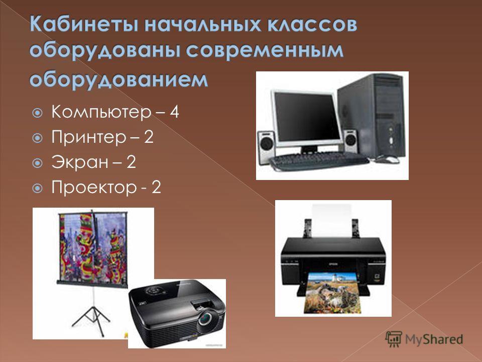 Компьютер – 4 Принтер – 2 Экран – 2 Проектор - 2