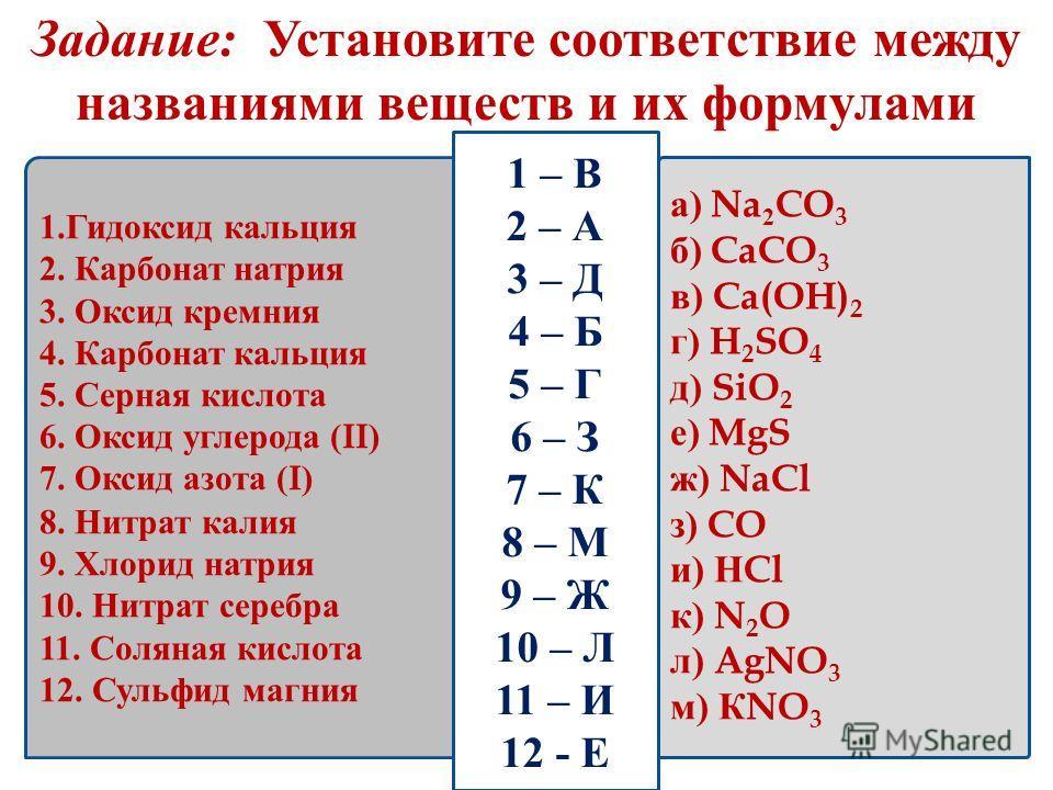 Задание: Установите соответствие между названиями веществ и их формулами 1.Гидоксид кальция 2. Карбонат натрия 3. Оксид кремния 4. Карбонат кальция 5. Серная кислота 6. Оксид углерода (II) 7. Оксид азота (I) 8. Нитрат калия 9. Хлорид натрия 10. Нитра
