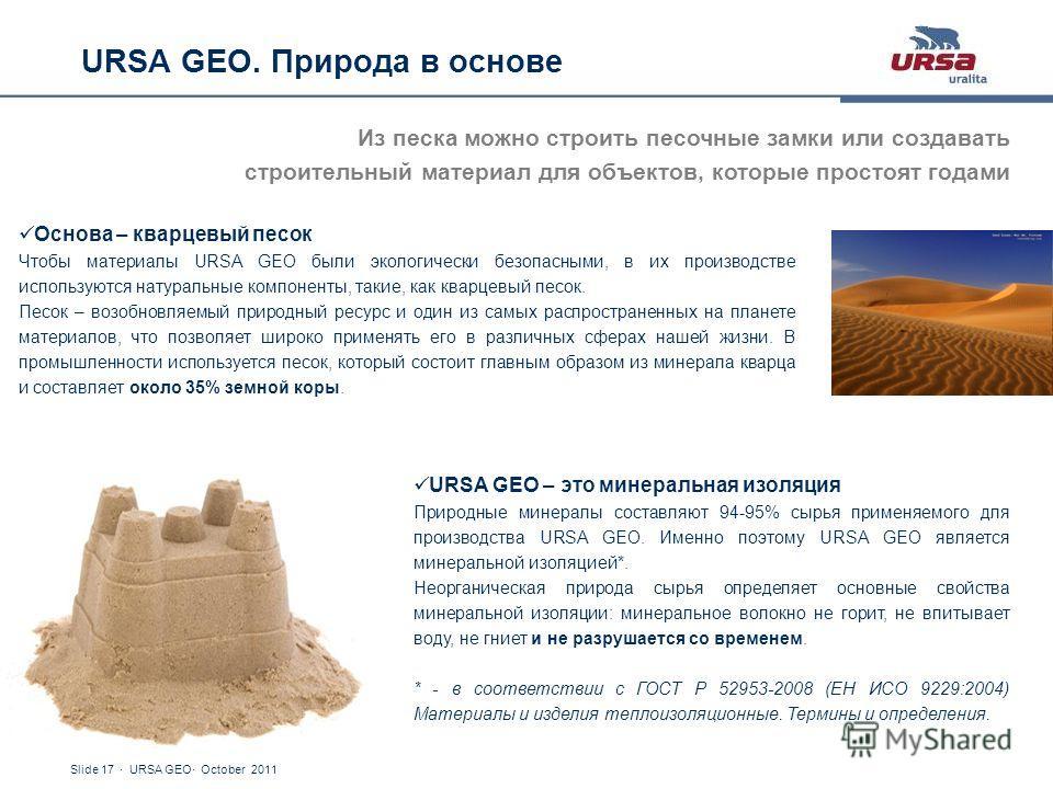 Slide 17 · URSA GEO· October 2011 URSA GEO. Природа в основе Из песка можно строить песочные замки или создавать строительный материал для объектов, которые простоят годами Основа – кварцевый песок Чтобы материалы URSA GEO были экологически безопасны