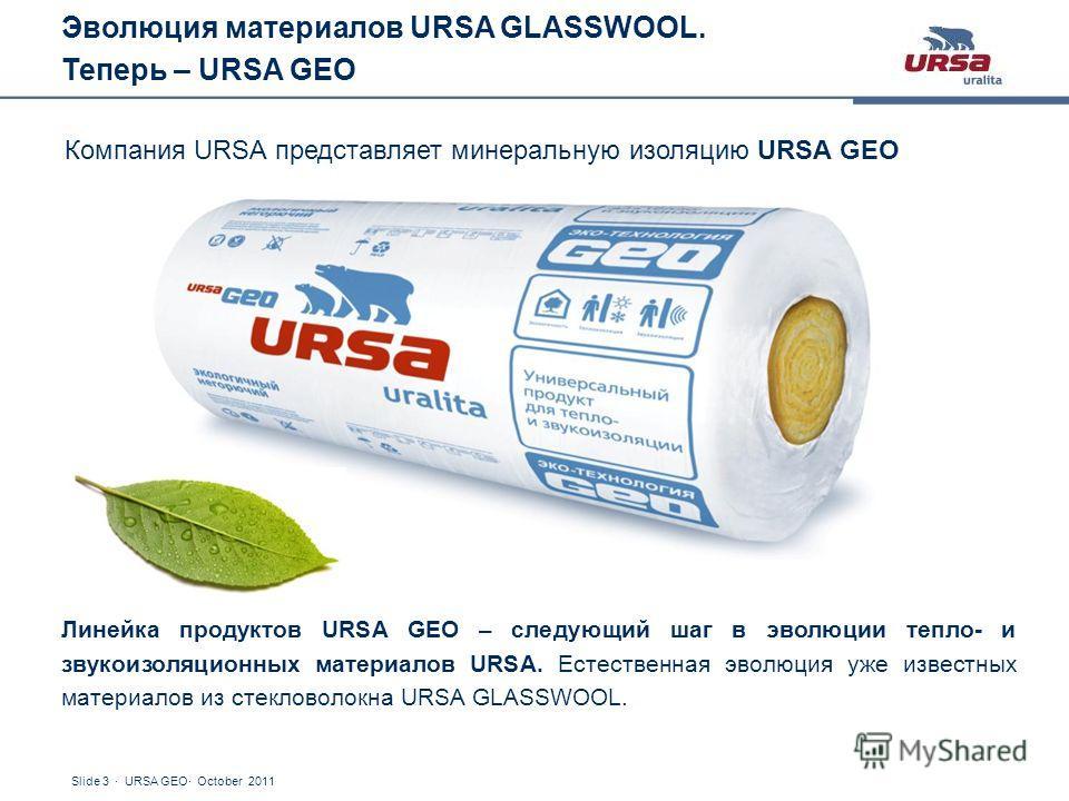 Slide 3 · URSA GEO· October 2011 Компания URSA представляет минеральную изоляцию URSA GEO Линейка продуктов URSA GEO – следующий шаг в эволюции тепло- и звукоизоляционных материалов URSA. Естественная эволюция уже известных материалов из стекловолокн