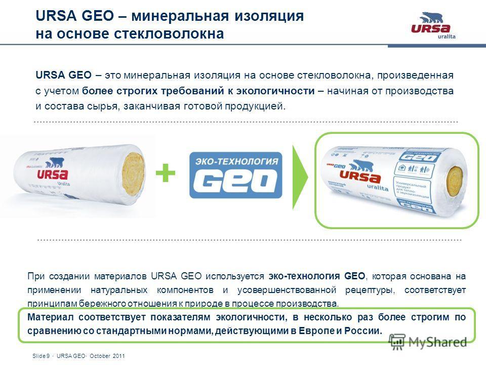 Slide 9 · URSA GEO· October 2011 URSA GEO – минеральная изоляция на основе стекловолокна URSA GEO – это минеральная изоляция на основе стекловолокна, произведенная с учетом более строгих требований к экологичности – начиная от производства и состава
