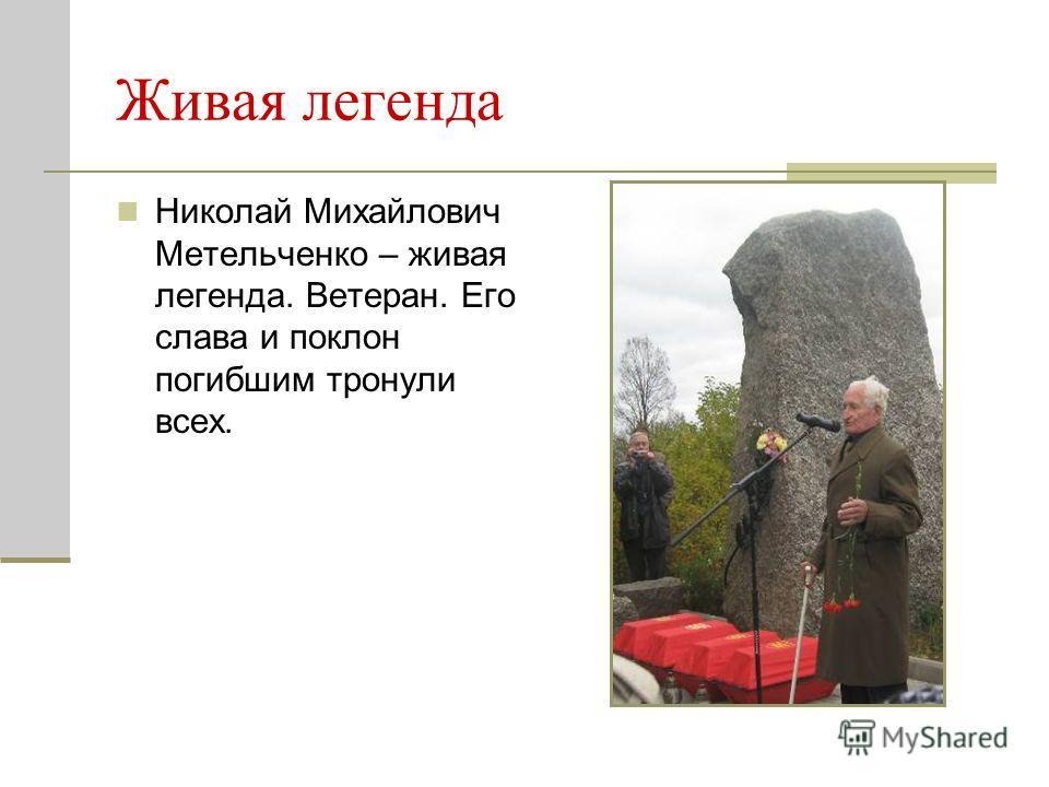 Живая легенда Николай Михайлович Метельченко – живая легенда. Ветеран. Его слава и поклон погибшим тронули всех.