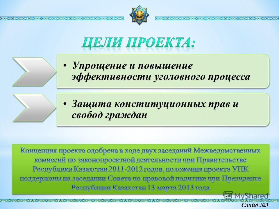 Упрощение и повышение эффективности уголовного процесса Защита конституционных прав и свобод граждан Слайд 3