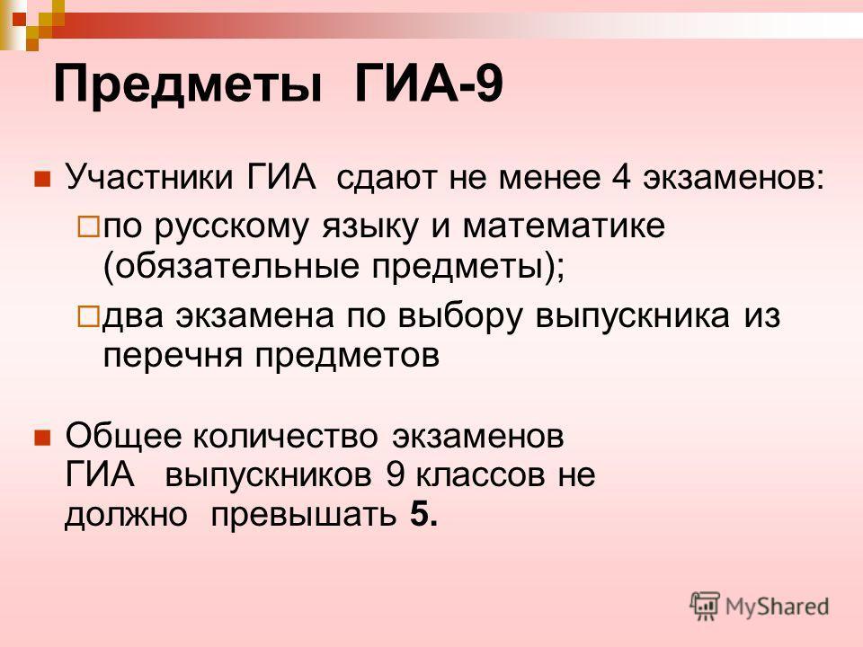 Предметы ГИА-9 Участники ГИА сдают не менее 4 экзаменов: по русскому языку и математике (обязательные предметы); два экзамена по выбору выпускника из перечня предметов Общее количество экзаменов ГИА выпускников 9 классов не должно превышать 5.
