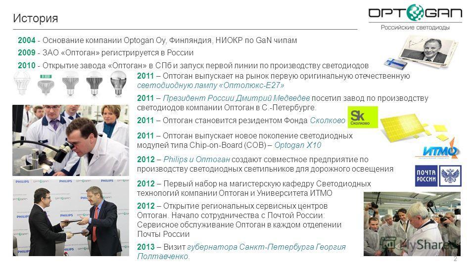2012 – Первый набор на магистерскую кафедру Светодиодных технологий компании Оптоган и Университета ИТМО 2 История 2004 - Основание компании Optogan Oy, Финляндия, НИОКР по GaN чипам 2009 - ЗАО «Оптоган» регистрируется в России 2010 - Открытие завода