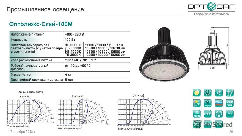 13 ноября 2013 г.20 Промышленное освещение Оптолюкс-Скай-100М