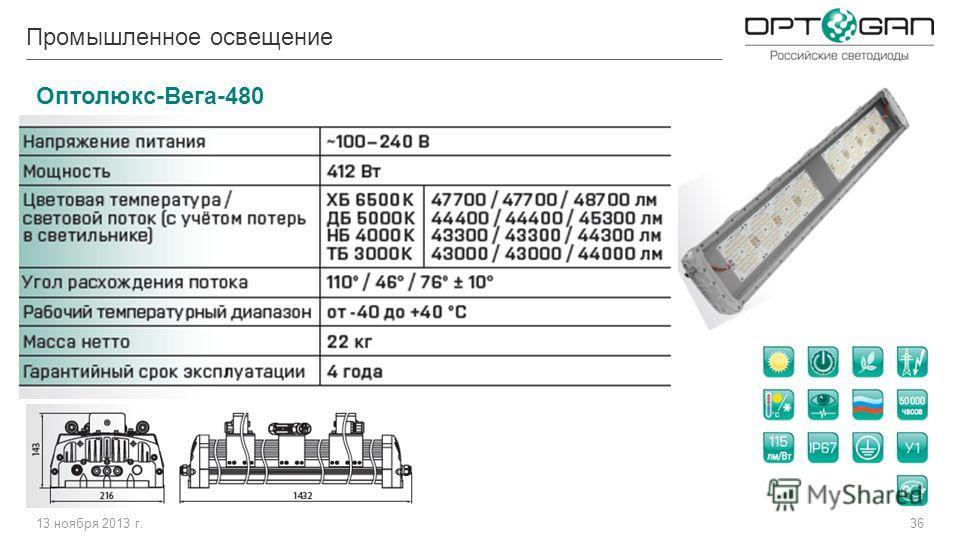 13 ноября 2013 г.36 Оптолюкс-Вега-480 Промышленное освещение