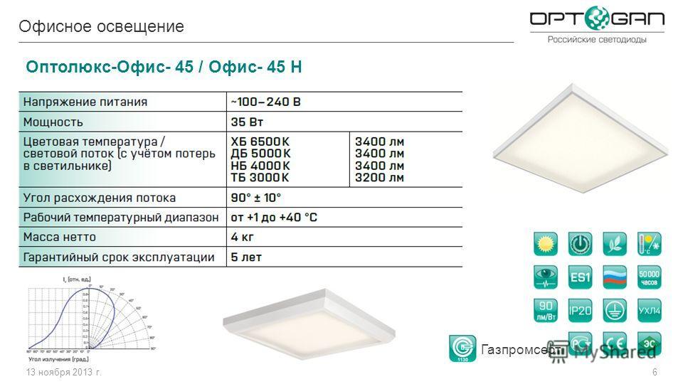 13 ноября 2013 г.6 Офисное освещение Оптолюкс-Офис- 45 / Офис- 45 Н Газпромсерт