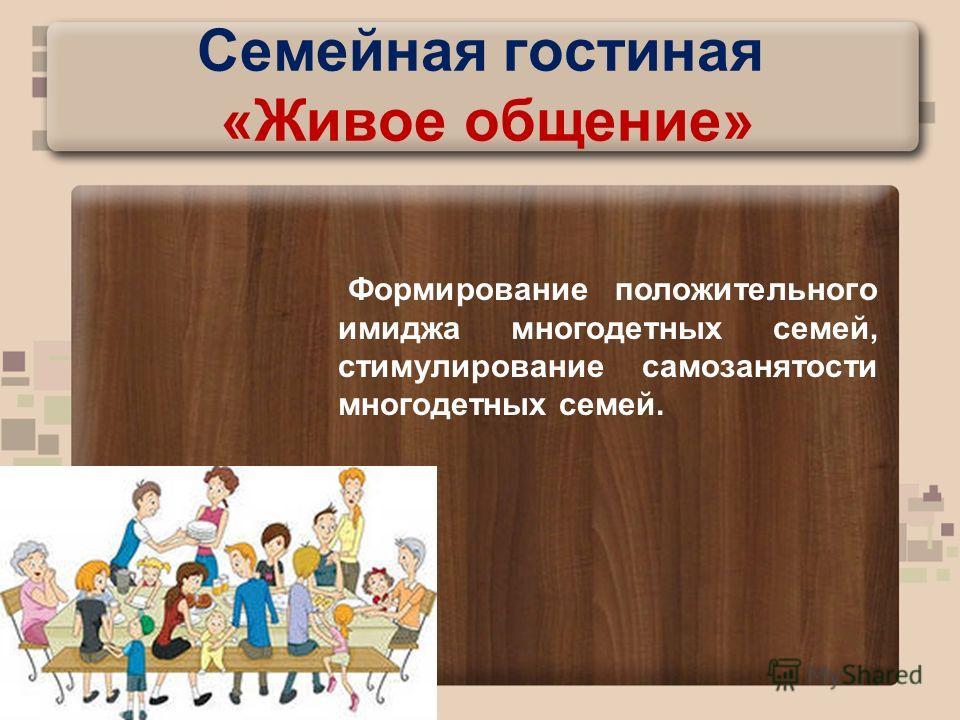 Семейная гостиная «Живое общение» Формирование положительного имиджа многодетных семей, стимулирование самозанятости многодетных семей.