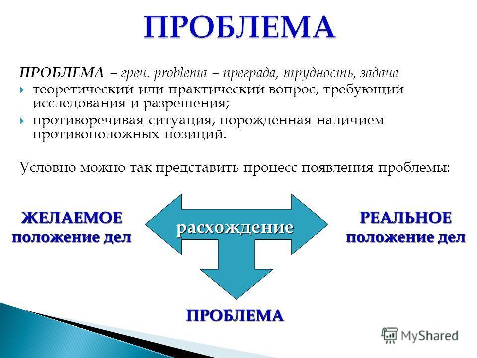 ПРОБЛЕМА – греч. problema – преграда, трудность, задача теоретический или практический вопрос, требующий исследования и разрешения; противоречивая ситуация, порожденная наличием противоположных позиций. Условно можно так представить процесс появления