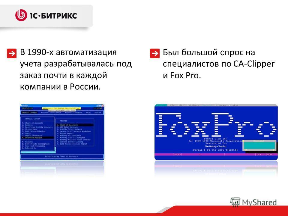 В 1990-х автоматизация учета разрабатывалась под заказ почти в каждой компании в России. Был большой спрос на специалистов по CA-Clipper и Fox Pro.