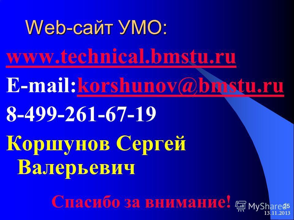 13.11.2013 25 Web-сайт УМО: www.technical.bmstu.ru E-mail:korshunov@bmstu.rukorshunov@bmstu.ru 8-499-261-67-19 Коршунов Сергей Валерьевич Спасибо за внимание!