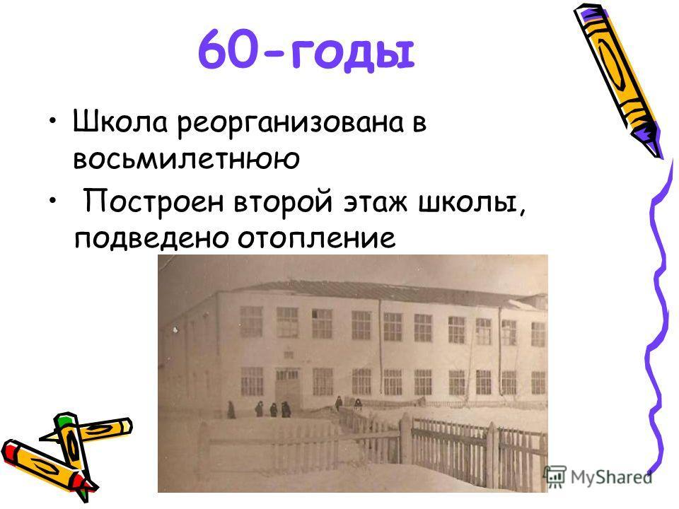 60-годы Школа реорганизована в восьмилетнюю Построен второй этаж школы, подведено отопление